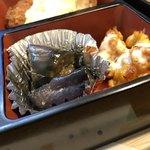 秋桜 - 茄子の煮物とトウモロコシのちぎり揚げ