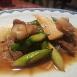 石鍋料理 健 - 牛肉と帆立、アスパラ炒め