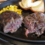 薪焼きハンバーグと厚切りステーキ 薪たま - U.S.ビーフ100%薪焼きハンバーグステーキ