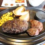 86510952 - U.S.ビーフ100%薪焼きハンバーグステーキ150gとカットステーキ100gランチセット