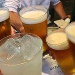 和醸良酒 ○たけ - 先ずはビールでカンパ〜イ♫(私はグレープフルーツサワー(笑))