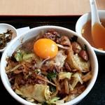 Shinkawataishoukenhanten - レバ野菜丼(卵黄のせ):800円