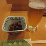 叶寿司 - アサヒ熟撰生(450円)とお通し
