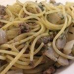 86560953 - 豚ソボロ肉と根菜のアーリオのアップ