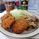 キッチングリーン - 3品盛り合わせ、生姜焼き・クリームコロッケ・串カツ・ご飯なし1,100円
