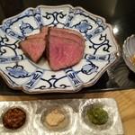 てっぱん割烹むら雲 - 島根県松永牧場産和牛クリ肉のステーキ ~三種の変わり味で~