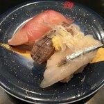 もり一 - 料理写真:「本日の3種盛り(さより、いわし、ぶり)」150円