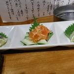喜多郎寿し なんば店 - 北海珍味三種盛り