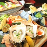 越後一会 十郎 - 料理写真:7.8月天然岩牡蠣がメイン夏の涼宴
