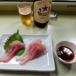 86597585 - 鯉生刺とサッポロラガービール(赤星)