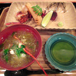 大神 - 四の膳:1海老頭の具足煮(餡掛け) 2.海老と筍の焼物