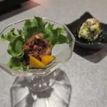 86599199 - 【黒豚のすじ煮込み】・【黒豚と野菜の三杯酢】