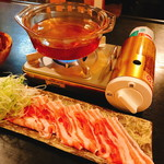 AKINDO - 日本酒しゃぶしゃぶ(780円)セッティング