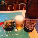 みやぎ軒 - キリンラガービール中瓶(¥600税込以下同)と、お通しの茎若芽(¥300)