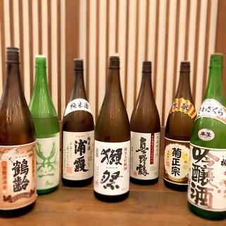 厳選日本酒純米酒中心に常時20種類以上のラインナップ