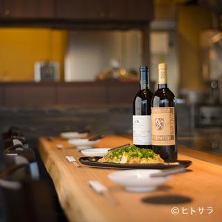 日本酒をはじめワインも国産のものが種類豊富に取り揃う