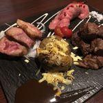 個室肉バル さいたま肉の会プレミアム - 3種お肉の盛り合わせー外もも、リブショート、サイコロステーキ