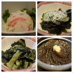 西新宿 小町食堂 - 左上から時計回りに、卯の花、ワカメとしらすの酢の物、もずく酢、菜の花の辛し和え