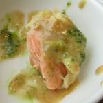chano-ma - サーモンの天ぷら胡麻味噌だれ