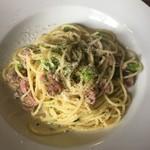 Creativo Cafe Italiano unotto - 自家製ソーセージ中身とブロッコリーのスパゲティ