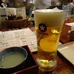酉や 喜兵衛 - 生ビール490円→アジマックスカードで440円(外税)