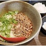 山椒家 - 黒 激辛味+温泉玉子+ライス(小) 730円+100+100円