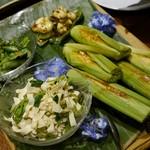 86718178 - 押し豆腐、ヤングコーン、空豆古漬け高菜風味