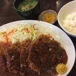 とんかつひろ喜 - 特選ヒレとんかつ定食 特大(¥1100)