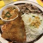 キッチンABC - 日替定食  アジフライ側からパチリ