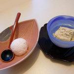 日本料理 桜楽 - <7月昼>デザートのカムカムのアイスとわらびもち