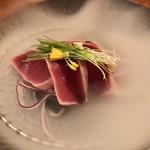 料理屋 錦三山車楼 - 湯引き鮪 バルサミコ醤油