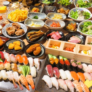 飲み放題付《お寿司食べ放題》ポテトもお替り9品&寿司10種