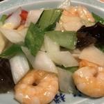 龍水楼 - この日のBランチは、炒蝦仁(エビと野菜の塩炒め)
