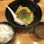 大名ちんちん - サービスランチ650円 まぜそば+スープ、ごはん
