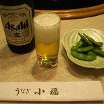 868875 - とりあえず瓶ビールと枝豆(つきだし)。