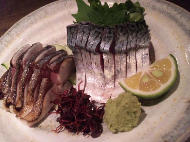 享楽 - サバ刺し(炙り&生)