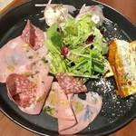 86819909 - 前菜盛合せ3種¥1180外税…モルタデラハム&ミラノサラミ、アンチョビのポテトサラダ、いろいろ野菜のフリッタータ
