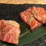 広島の黒毛和牛焼肉専門店 肉亭いちゆく - 和牛中落ちカルビ ハーフ  黒毛和牛リブロース ハーフ
