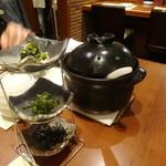 旬鮮炭火焼 獺祭 - 焼き鯖土鍋ご飯+薬味セット