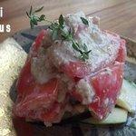 湯島食堂 - ナスとトマトのアーモンド和え