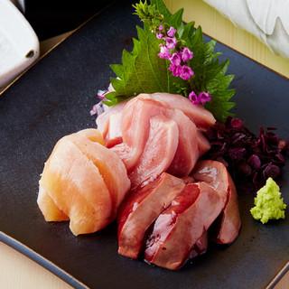 薩摩地鶏のお刺身、低温調理レバ刺し