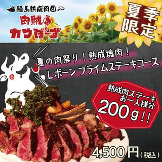 【夏の肉祭り】夏季限定!熟成塊肉「Lボーンステーキコース」
