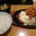 洋食の欧風軒 - ハンバーグ&海老フライセット