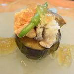 料理 吉祥寺 わるつ - 水茄子の揚げ煮 鱧と鮎海老の黄身煮スッポンのジュレ添え