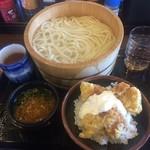 丸亀製麺 - 釜揚げ(大)+タル鶏天丼