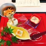 86853681 - 胡麻豆腐・筍とレタスの煮浸し・トウモロコシの摺り流し
