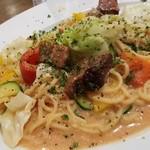 酒場~ル DEN - 「明太子と厚切りベーコンと旬野菜のオイルパスタ (890円)」