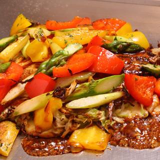 季節メニュー!上州豚と夏野菜のお好み焼