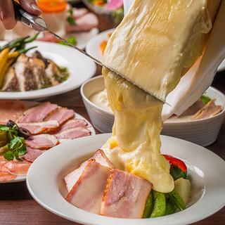 ラクレットチーズ×ワイン6種プラン2.5h7皿3500円~