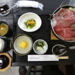 牛鍋おおき - 頃合いを見計らいご飯とお味噌汁が提供されます